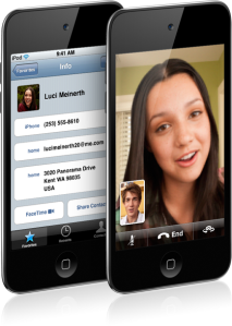 FaceTime instant messaging on the new iPod touch