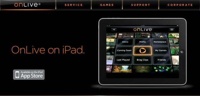 OnLive game system app for iPad arrives