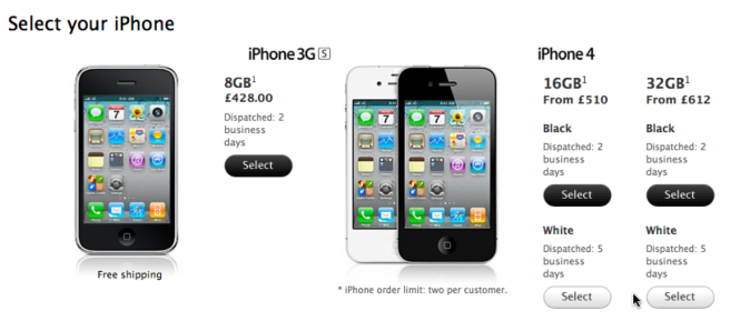 White iPhone 4 on Apple online store