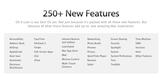 OS X LIon's new features